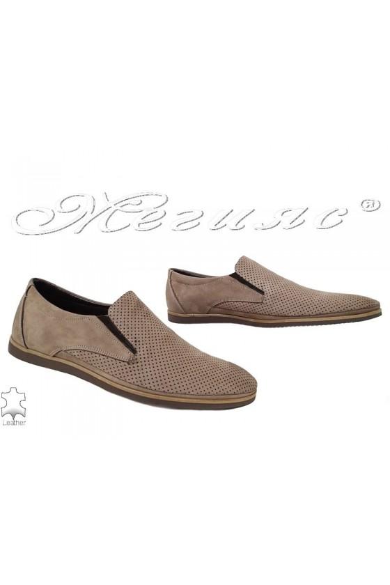 Мъжки обувки Фантазия 500-602 перфорация бежов набук