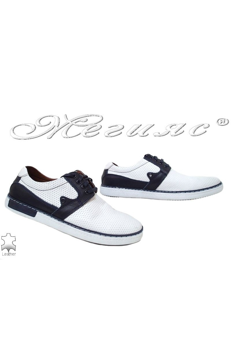 Мъжки обувки 625 бели със синьо от естествена кожа