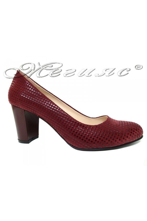 Lady elegant shoes 99  wine pu with middle heel