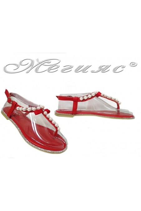 Дамски сандали LINDA 20S16-356 червени с перли равни