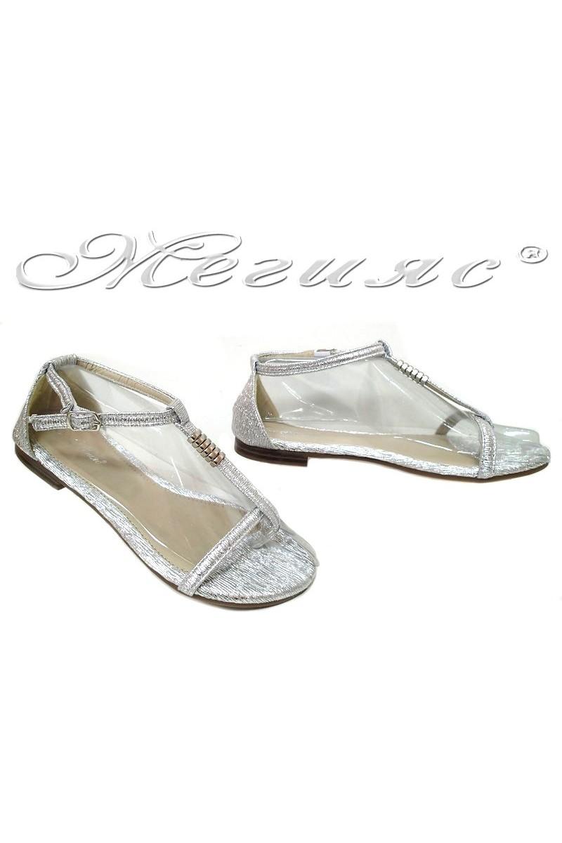 Дамски сандали S-114 сребристи равни от еко кожа