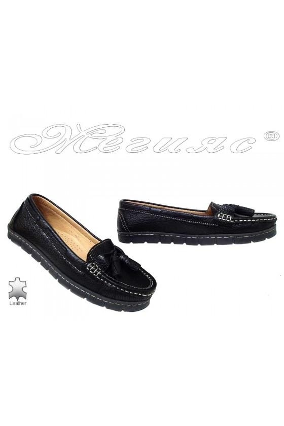Дамски ежедневни обувки 3001 черни естествена кожа