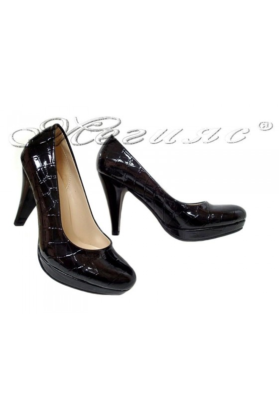Ladies elegant shoes 1520 black patent high heel