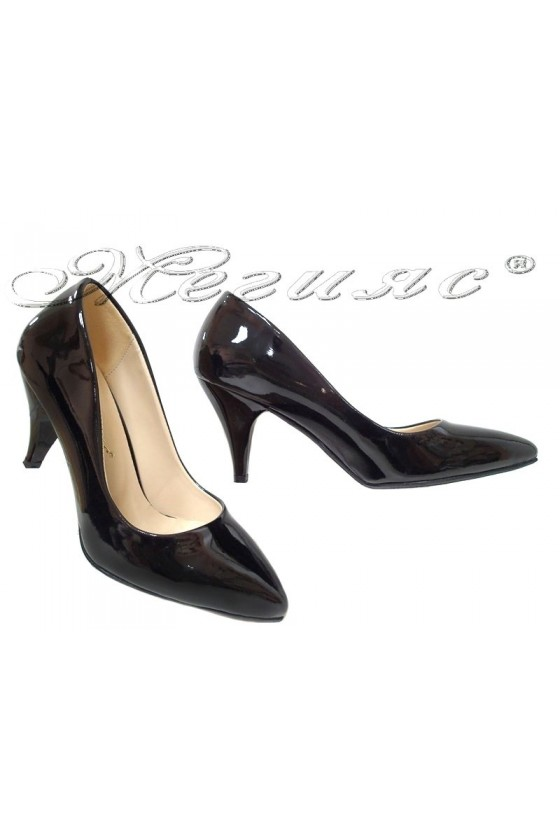 Women shoes 01103 black patent middle heel