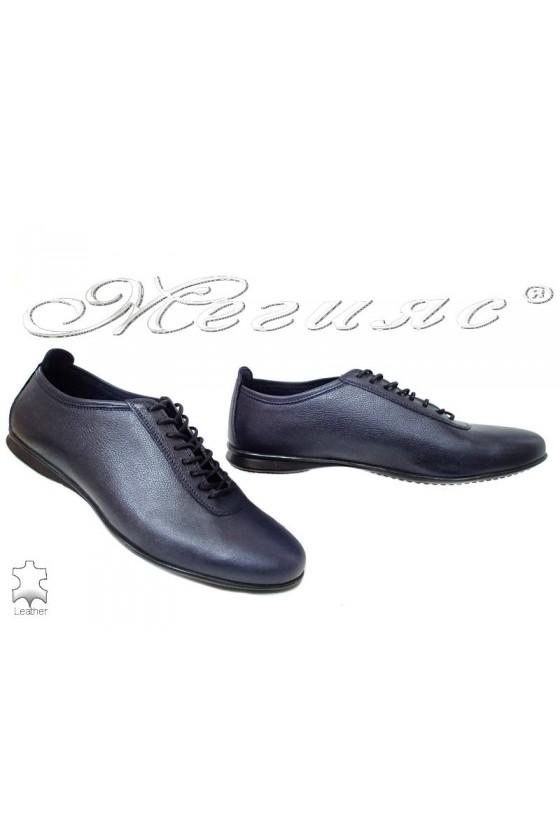 Мъжки обувки MET 3029 сини естествена кожа
