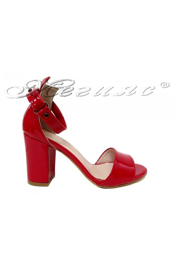 Women  middle heel sandals 143 red patent elegant
