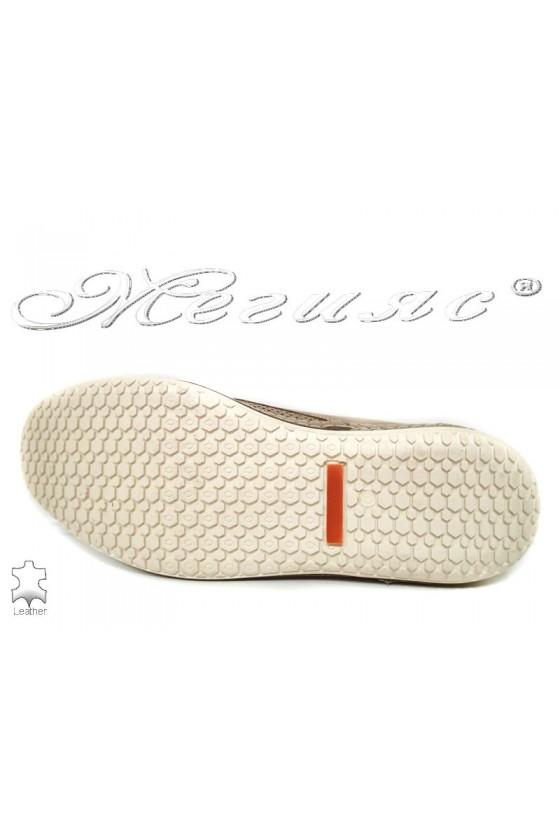 Мъжки обувки ROGGER 947 бежово+кафяво естествен велур