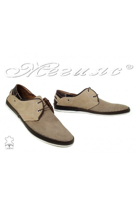 Men's shoes 947 beige+brown leather