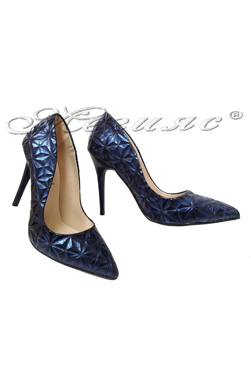 Women elegant shoes 1600 blue with high heel