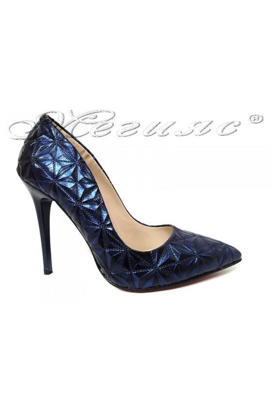 Women elegant shoes 1600 blue with high heel