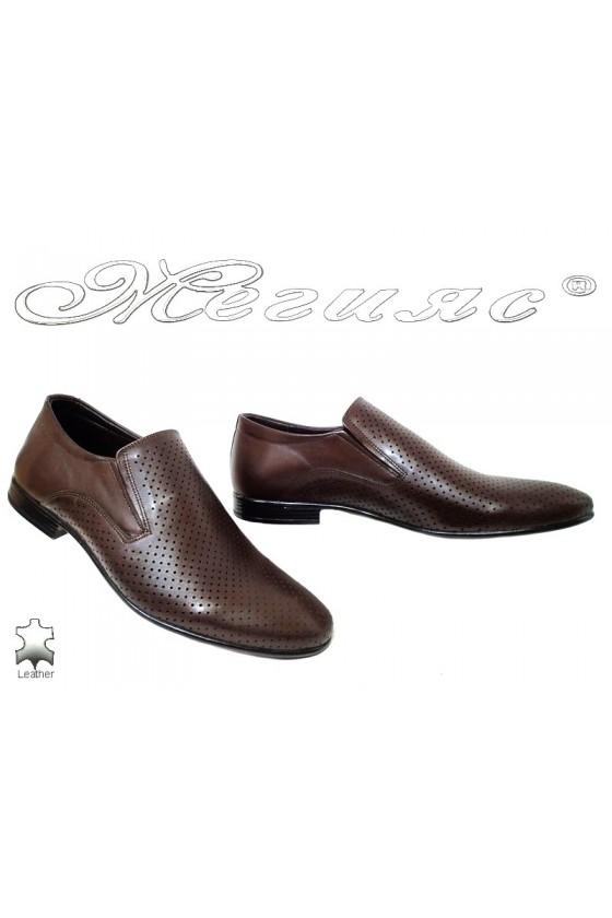 Мъжки обувки Фантазия 0050-620 тъмно кафяви от естествена кожа