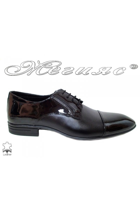 Men's shoes 16002 black leather