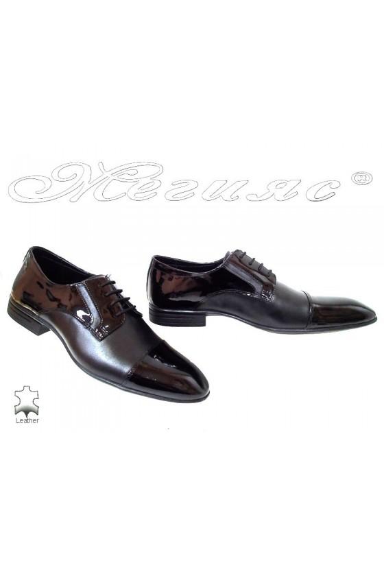Мъжки обувки Фантазия 16002 черни кожа с лак от естествена кожа