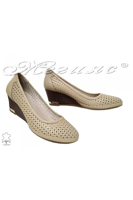 Women shoes 973 beige leather
