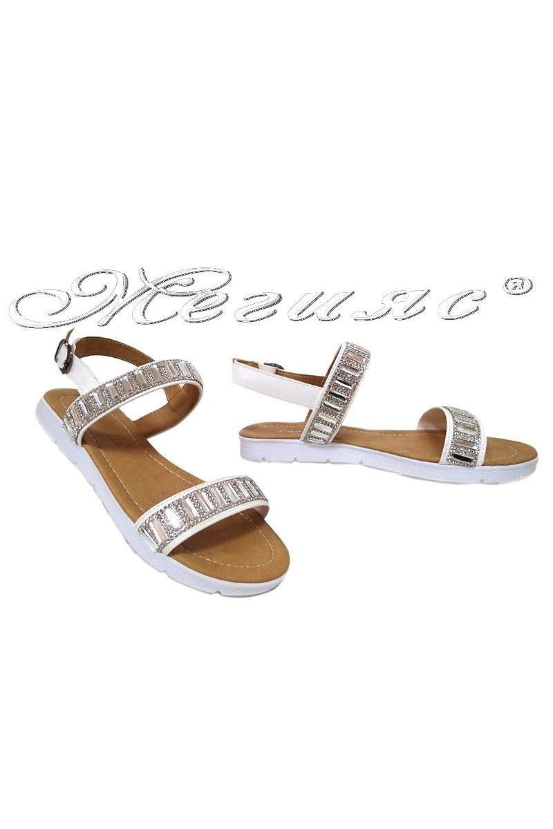 Дамски сандали 602 бели с камъни равни от еко кожа ежедневни