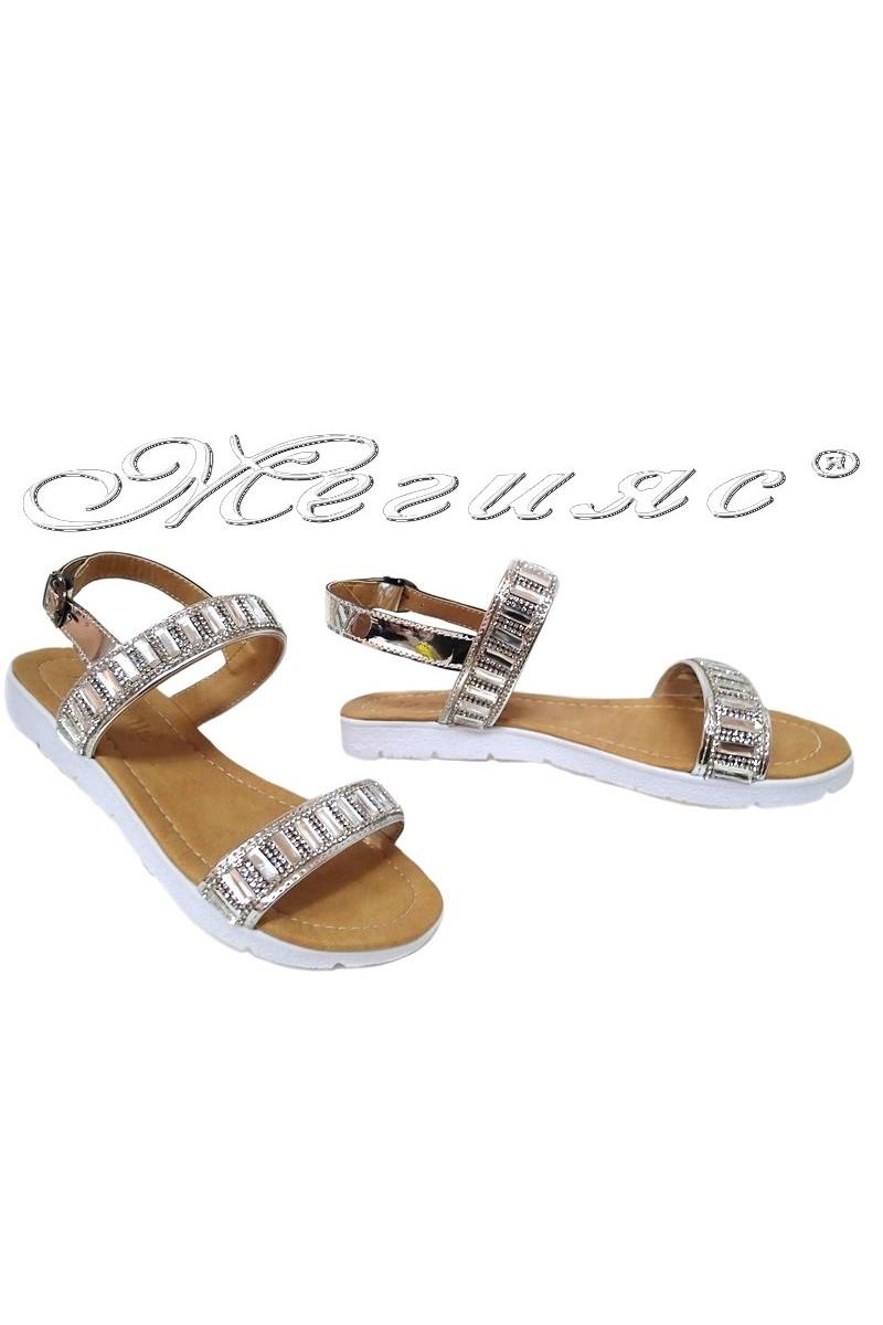 Дамски сандали 602 сребристи с камъни равни от еко кожа ежедневни