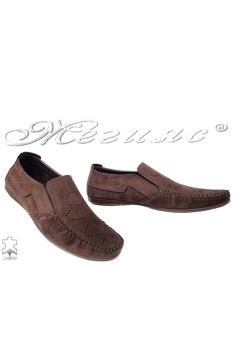 Men shoes FANTASIA 600-240 casual brown nubuck with perforation