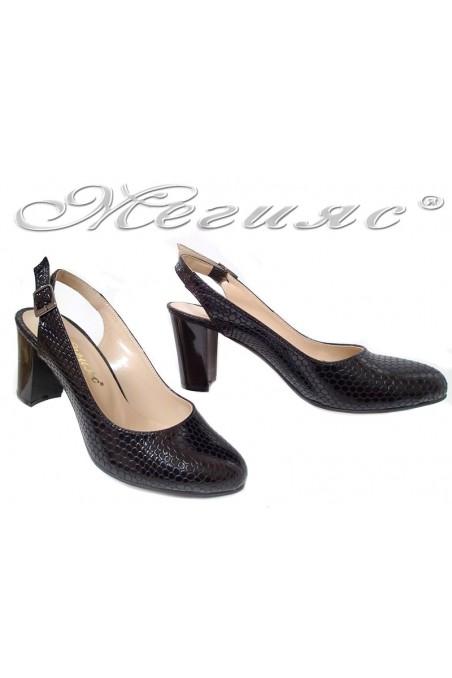 Women sandals 88 black snake pu
