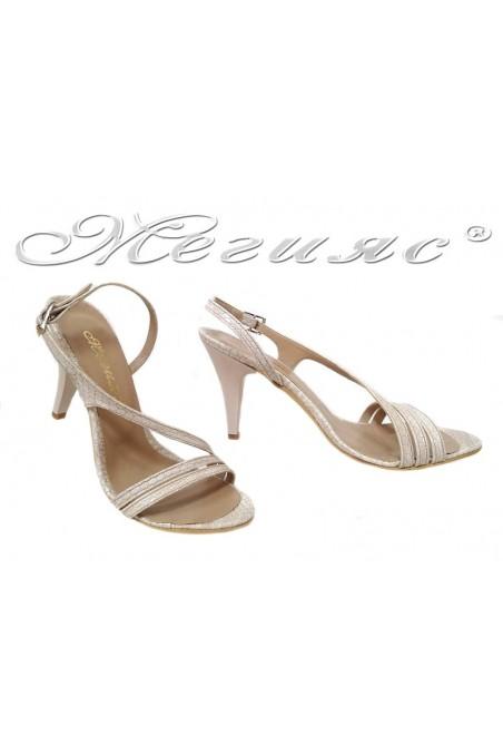 Women elegant sandals 106 beige snake pu