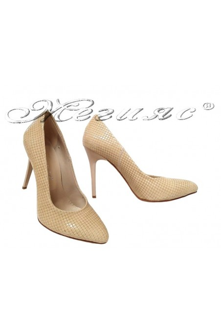 Lady elegant shoes 162 beige pu with high heel