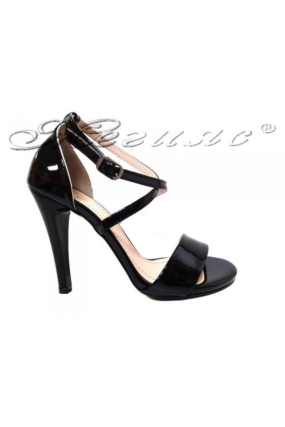 Women elegant sandals 107  black patent with high heel