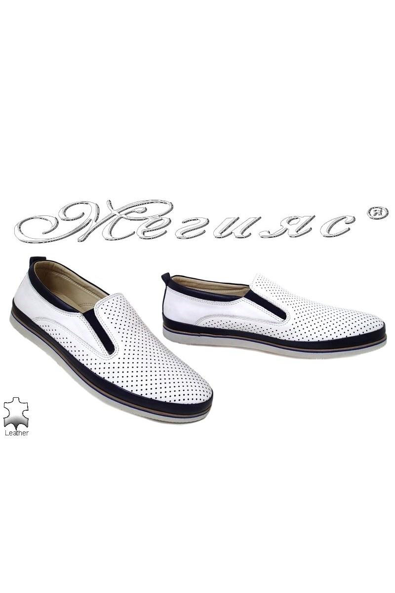 Мъжки обувки 05-061 бяло със синьо перфорация от естествена кожа