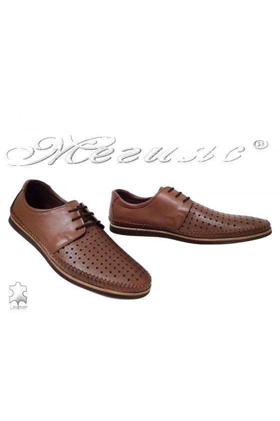 Мъжки обувки Фантазия 03-012 кафяви перфорация от естествена кожа