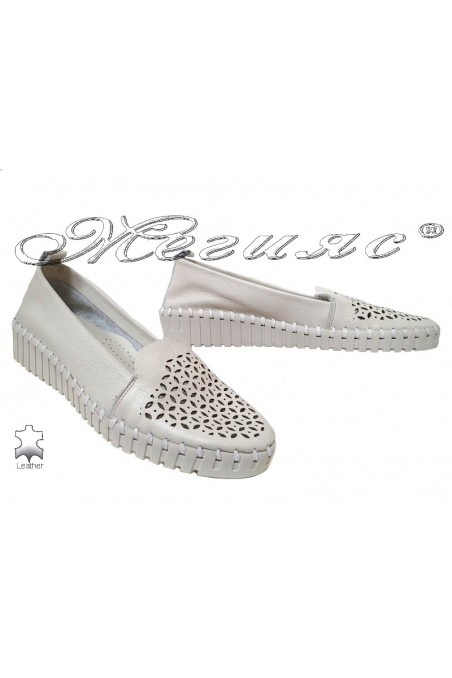 Lady shoes 56-321 beige leather