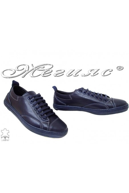 Men's shoes 010 dark blue leather