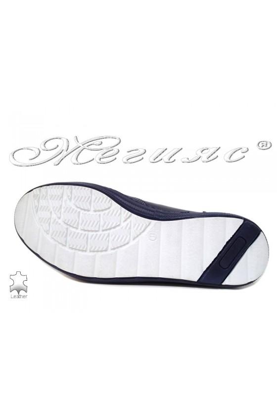 Мъжки обувки Фантазия 010 мат сини от естествена кожа