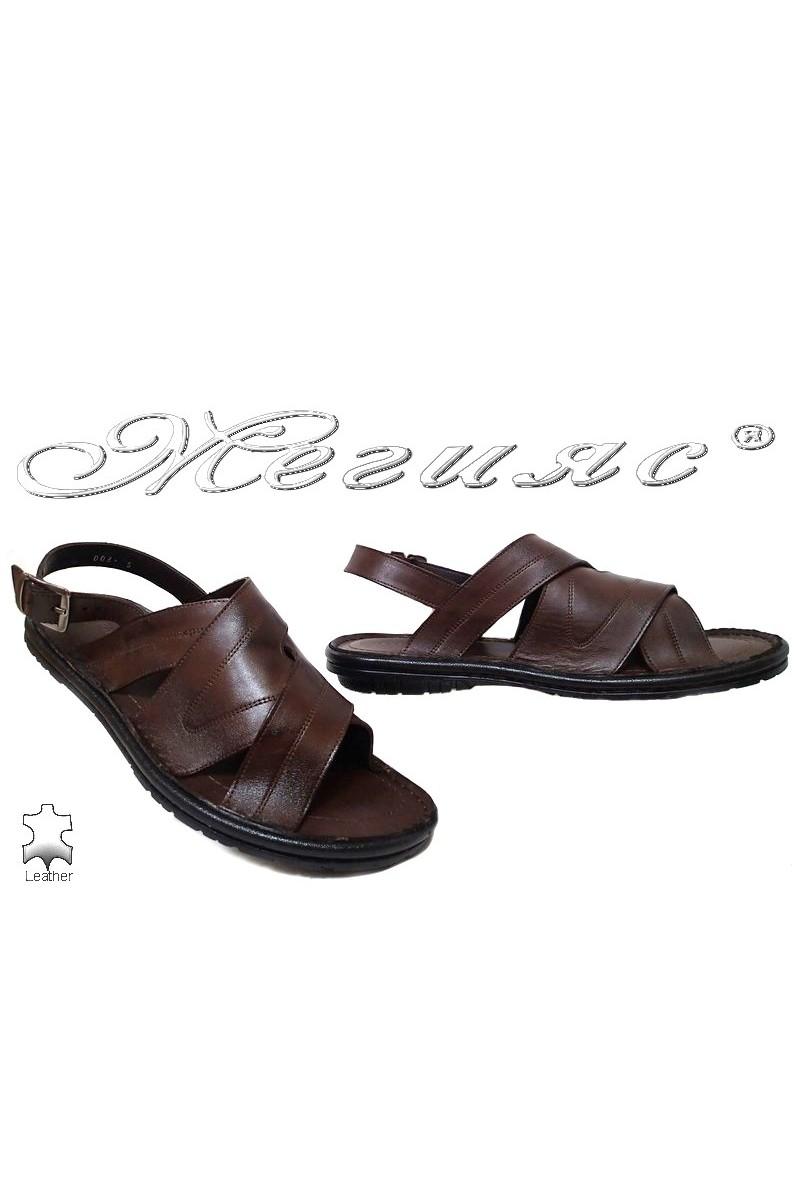 Мъжки сандали Фантазия 200 тъмно кафяви от естествена кожа