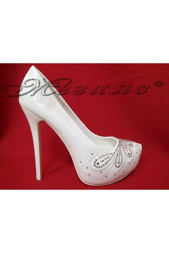 Дамски обувки CAROL 20S16-325 бели на висок ток с камъчета