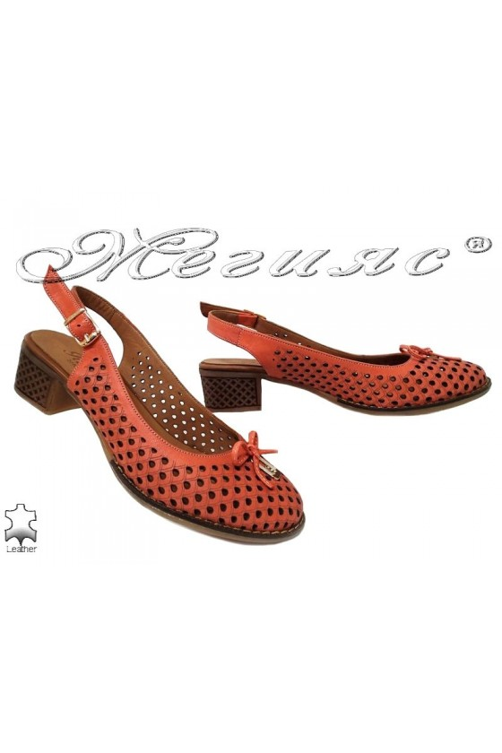 Women sandals 22-90 coral-1 leather