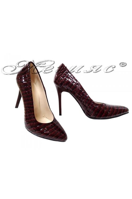 Дамски обувки 162 бордо лакж кроко висок ток елегантни