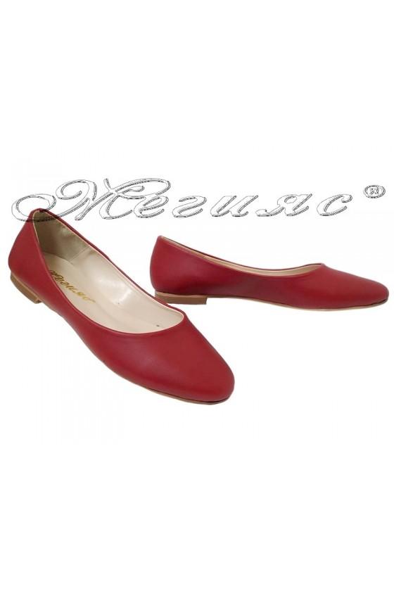 Дамски обувки 101 червен мат равни от еко кожа