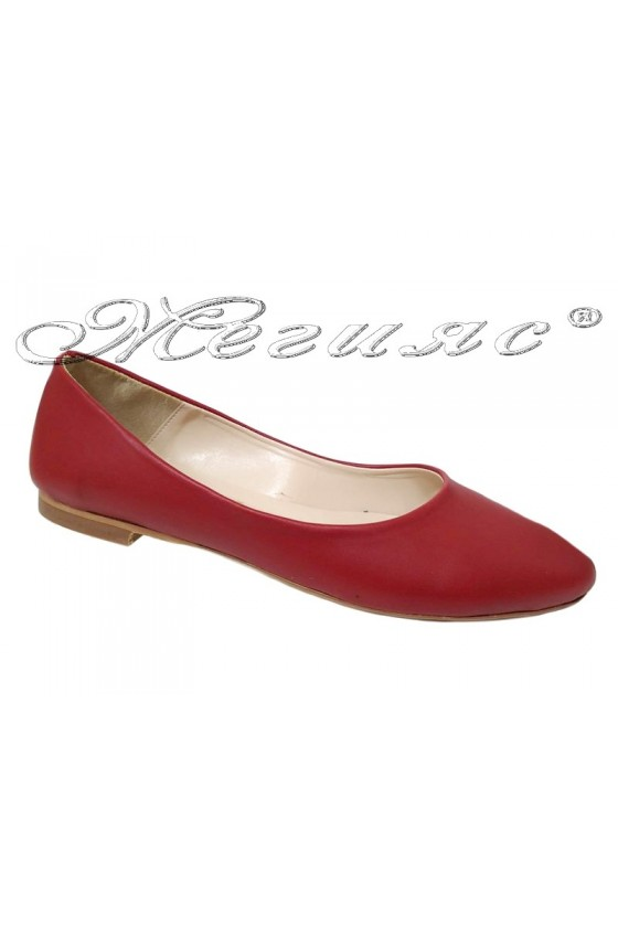 Дамски обувки XXL 101 червен мат равни от еко кожа