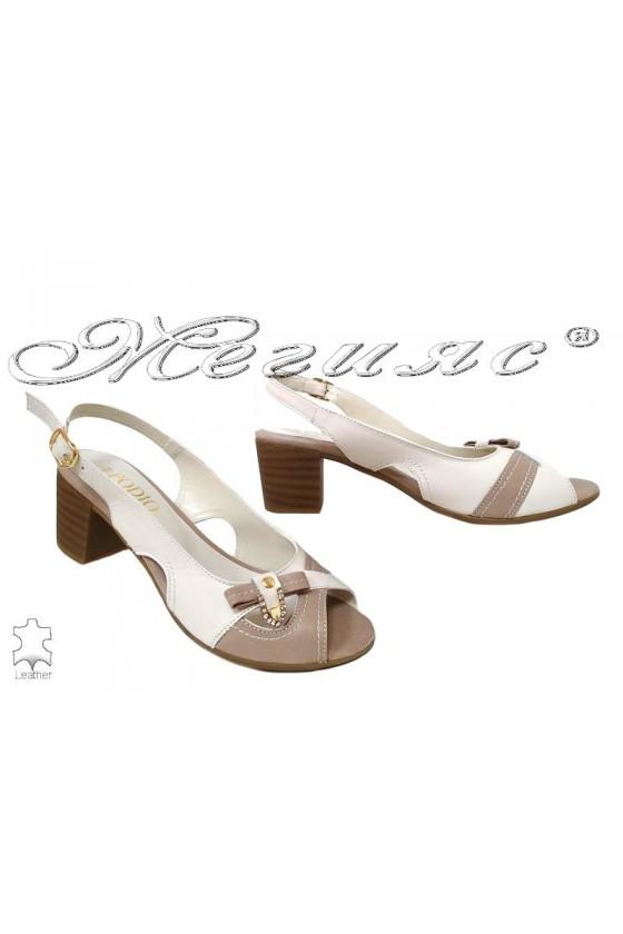 Дамски сандали 668-03 бежови+визон от естествена кожа с широк ток