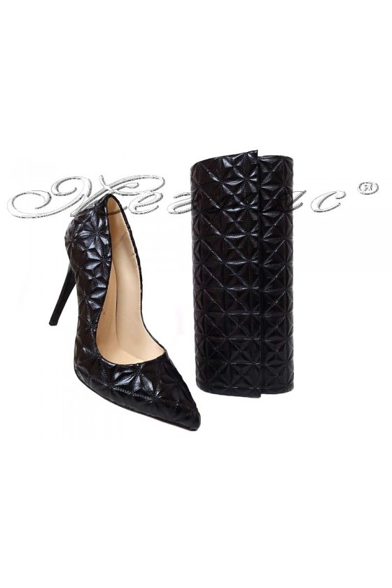 Women elegant shoes 1600 black pu with bag 373