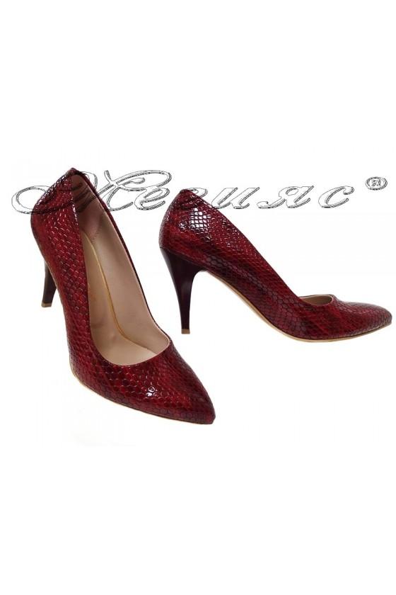 Дамски елегантни обувки 150 червен кроко лак