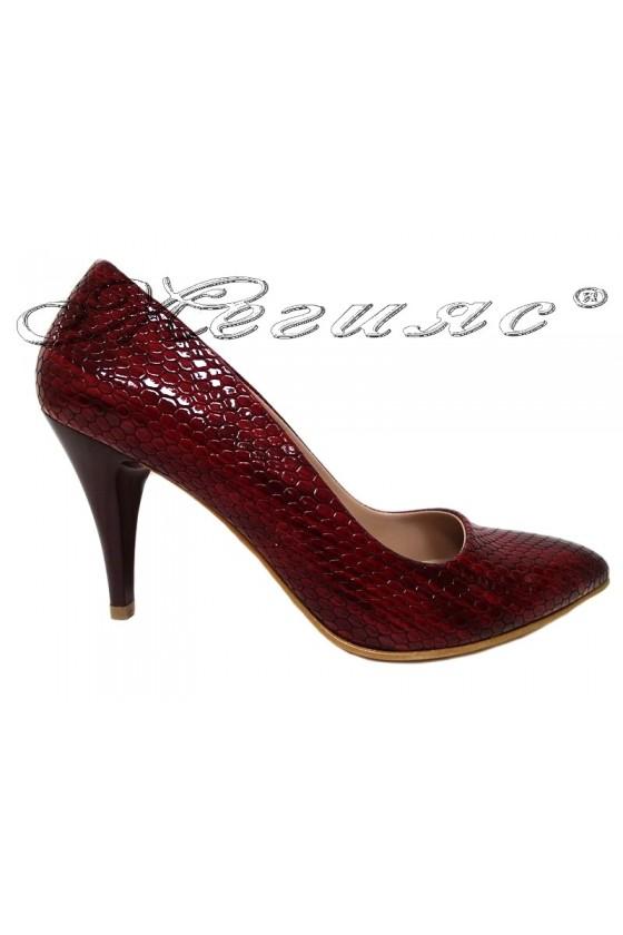 Дамски елегантни обувки 150 червен лак змия