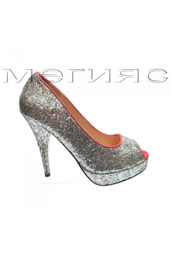 Дамски обувки XXL Jeniffer 13-5560 сребрист брокат+розово