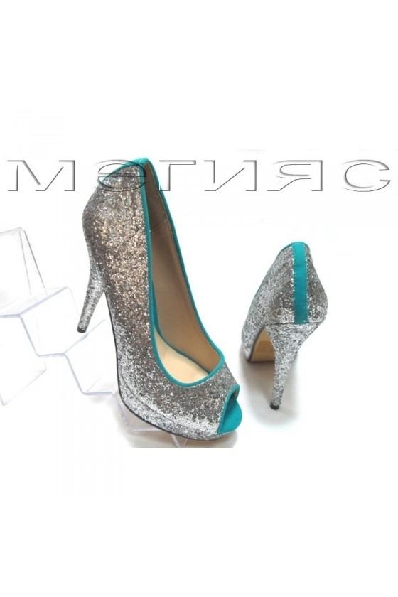 Дамски обувки XXL Jeniffer 13-5560 сребрист брокат+синьо