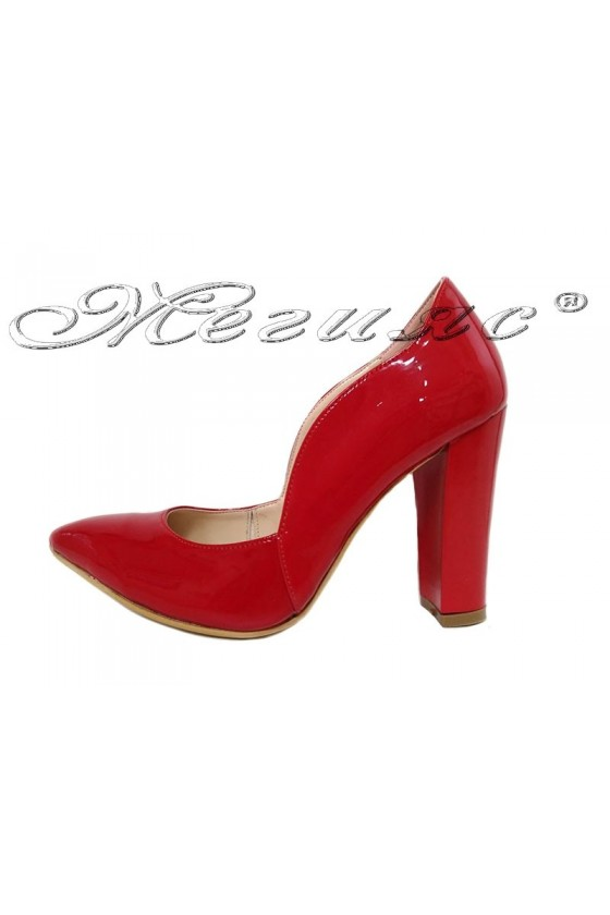 Women elegant shoes 198 red patent with high heel