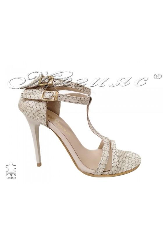 Women elegant sandals 247-82  beige patent with high heel