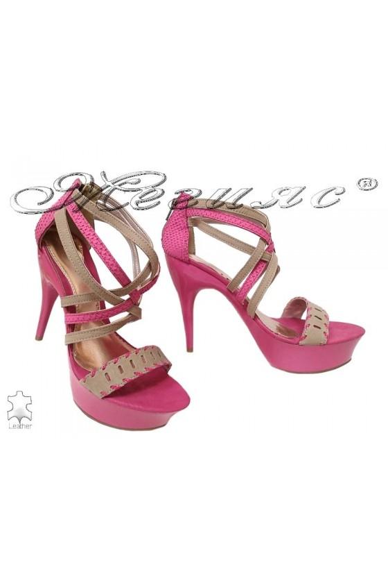 Дамски сандали 1047203 розови от естествена кожа елегантни с висок ток