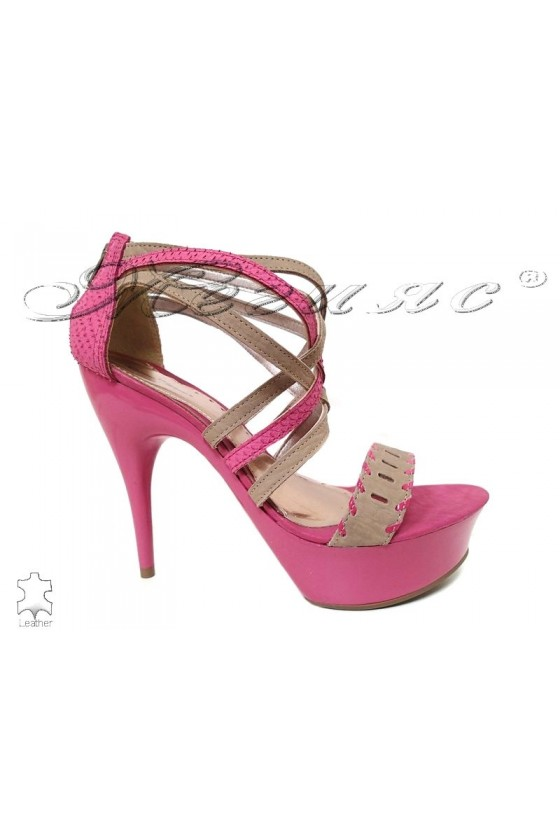 Lady sandals 1047203 pink/beige leather with high heel