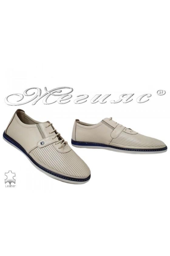 Men's shoes 138-010 beige leather