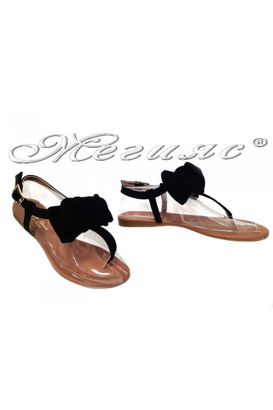 Дамски сандали панделка ежедневни в черен цвят