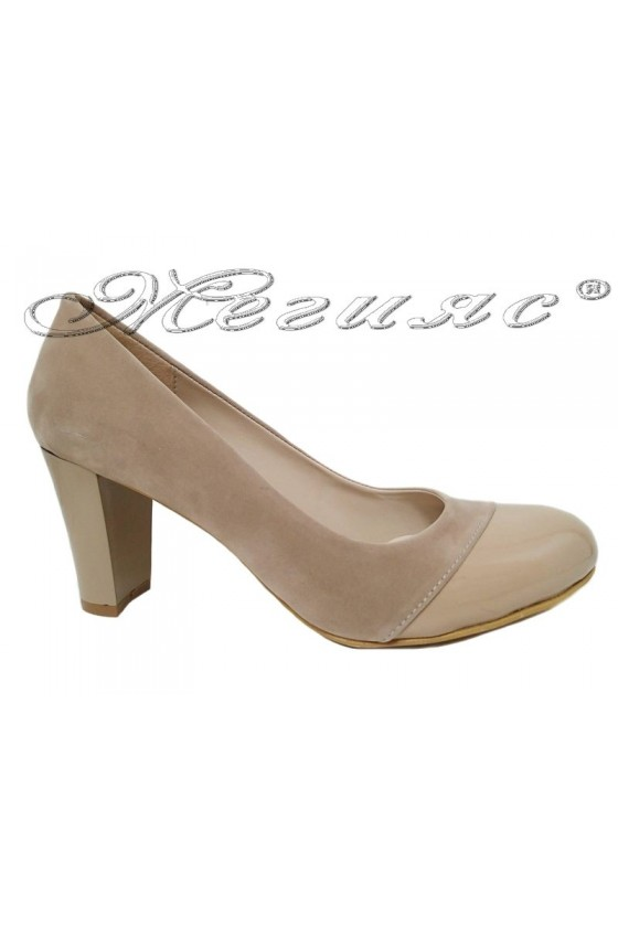 Lady elegant shoes  011213 beige with high heel