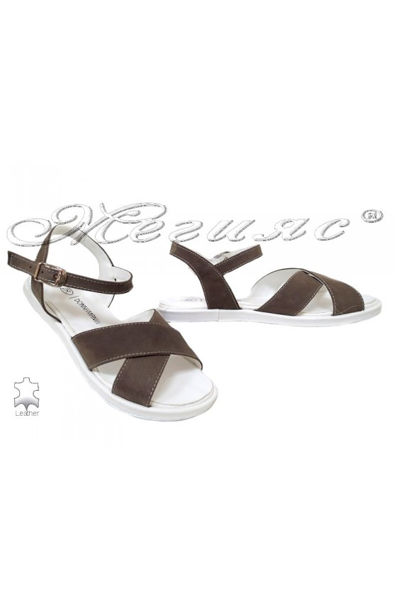 Lady sandals 043 brown leather